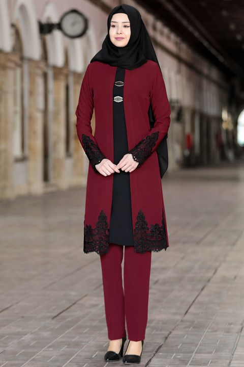 Tunic - Pants - 2 Piece Suit - Crepe - Unlined - Crew Neck - Claret Red - SN28