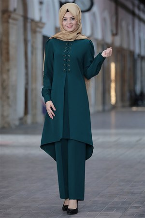 Tunic - Pants - 2 Piece Suit - Crepe - Unlined - High Collar - Petrol - AHN01