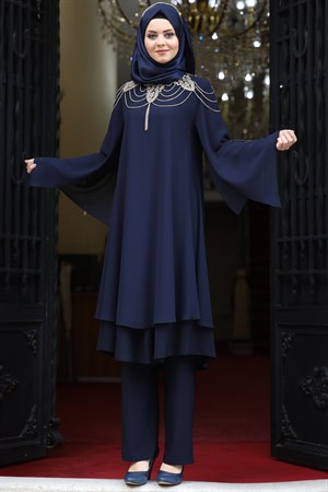 Tunic - Pants - 2 Piece Suit - Chiffon - Crepe - Unlined - High Collar - Dark Navy Blue - AHN10