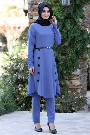 Tunic - Pants - 2 Piece Suit - Crepe - Unlined - High Collar - Blue - AHN12