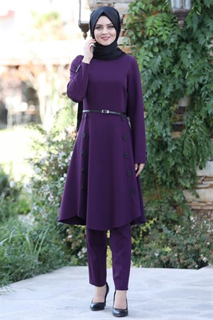 Tunic - Pants - 2 Piece Suit - Crepe - Unlined - High Collar - Purple - AHN12