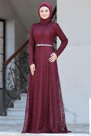Evening Dress - Lace - Full Lined - High Collar - Claret Red - AHN135