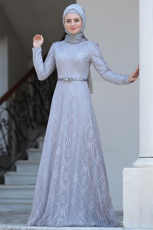 Evening Dress - Lace - Full Lined - High Collar - Grey - AHN135