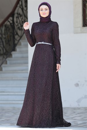 Evening Dress - Lace - Full Lined - High Collar - Purple - AHN135