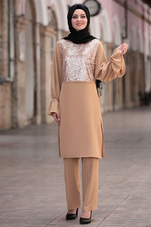 Tunic - Pants - Crepe - Unlined - Crew Neck - Camel - AHN152