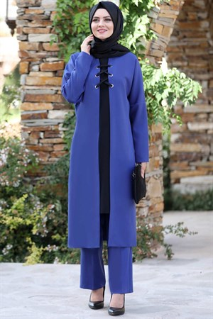 Tunic - Pants - 2 Piece Suit - Crepe - Unlined - High Collar - Indigo - AHN159