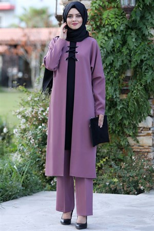 Tunic - Trousers - 2 Piece Suit - Crepe - Unlined - High Collar - Lilac - AHN159