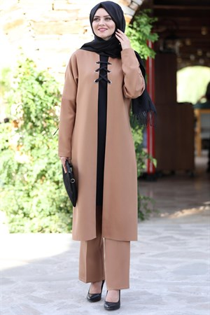 Tunic - Pants - 2 Piece Suit - Crepe - Unlined - High Collar - Tan - AHN159