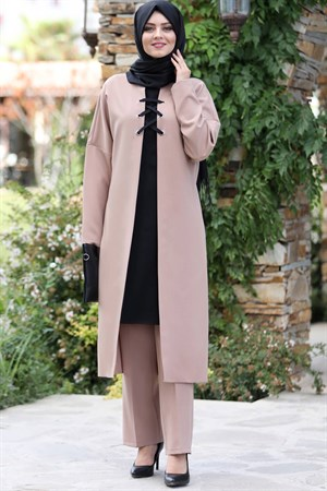 Tunic - Trousers - 2 Piece Suit - Crepe - Unlined - High Collar - Mink - AHN159