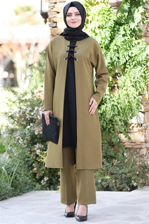 Tunic - Pants - 2 Piece Suit - Crepe - Unlined - High Collar - Oil Green - AHN159