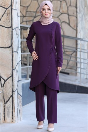 Tunic - Pants - 2 Piece Suit - Crepe - Unlined - Crew Neck - Purple - AHN161