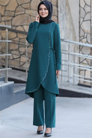 Tunic - Trousers - 2 Piece Suit - Crepe - Unlined - Crew Neck - Petrol - AHN161