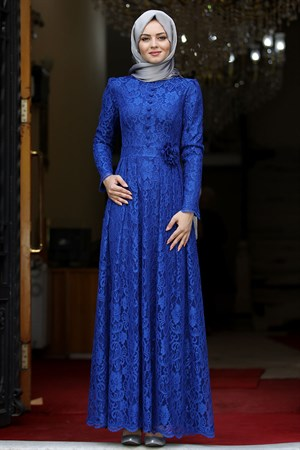 Dress - Lace - Full Lined - High Collar - Royal Blue - AHN33