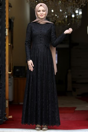 Dress - Lace - Full Lined - High Collar - Black - AHN33