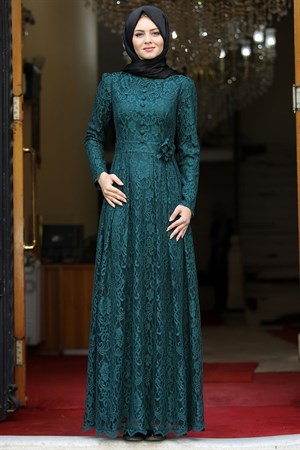 Dress - Lace - Full Lined - High Collar - Emerald - AHN33