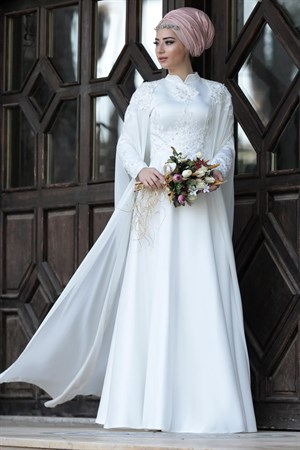 Wedding Dress - Satin - Full Lined - High Collar - Ecru - LFZ226