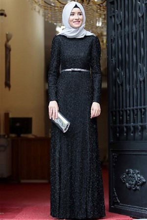 Evening Dress - Lace - Full Lined - High Collar - Black - AMH119