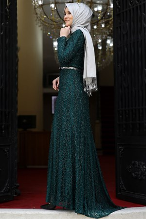 Evening Dress - Lace - Full Lined - High Collar - Emerald Green - AMH119