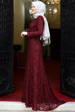Evening Dress - Lace - Full Lined - High Collar - Claret Red - AMH125