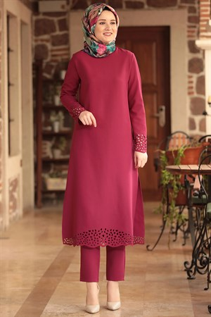 Tunic - Pants - 2 Piece Suit - Crepe - Unlined - High Collar - Plum - AMH190