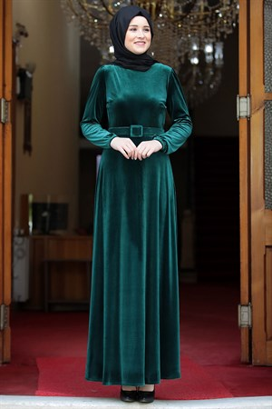 Dress - Velvet - Unlined - Crew Neck - Emerald Green - AMH198