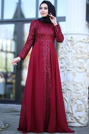 Evening Dress - Chiffon - Sequins - Full Lined - High Collar - Claret Red - AMH232