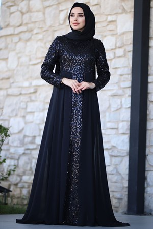 Evening Dress - Chiffon - Sequins - Full Lined - High Collar - Black - AMH232