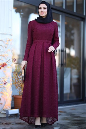 Evening Dress - Lace - Full Lined - High Collar - Claret Red - AMH238