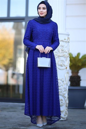 Evening Dress - Lace - Full Lined - High Collar - Indigo Blue - AMH238
