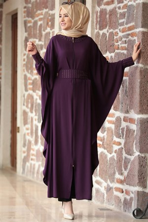 Abaya - Crepe - Unlined - Crew Neck - Purple - AMH27