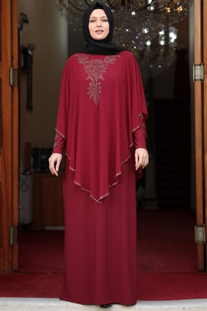 Evening Dress - Lycra - Unlined - Crew Neck - Claret Red - AMH501