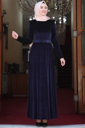 Dress - Velvet - Unlined - Crew Neck - Dark Navy Blue - AMH508