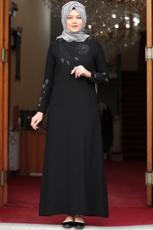 Evening Dress - Crepe - Unlined - High Collar - Black - AMH516