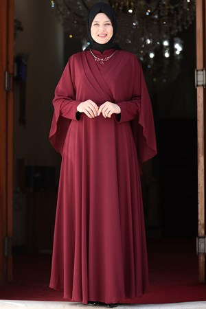 Evening Dress - Lycra - Unlined - Crew Neck -  Claret Red - AMH530