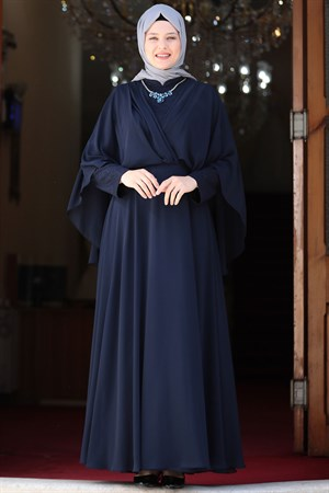 Evening Dress - Lycra - Unlined - Crew Neck -  Dark Navy Blue - AMH530