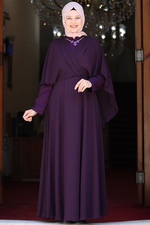 Evening Dress - Lycra - Unlined - Crew Neck -  Purple - AMH530