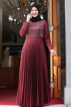 Evening Dress - Crepe - Lined - High Collar - Claret Red AMH544