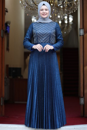 Evening Dress - Crepe - Lined - High Collar - Royal Blue AMH544