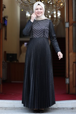 Evening Dress - Crepe - Lined - High Collar - Black AMH544