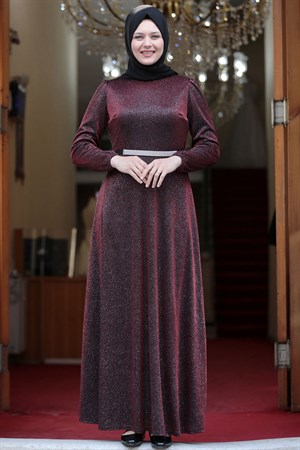 Evening Dress - Crepe - Lined - High Collar - Claret Red - AMH550