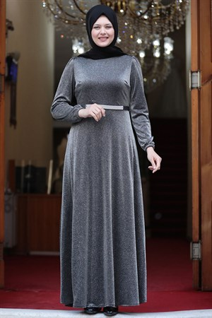 Evening Dress - Crepe - Lined - High Collar - Grey - AMH550