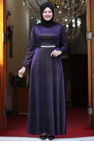 Evening Dress - Crepe - Lined - High Collar - Purple - AMH550