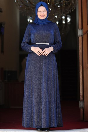 Evening Dress - Crepe - Lined - High Collar - Royal Blue - AMH550