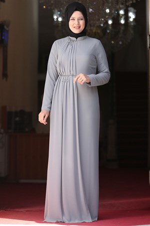 Evening Dress - Crepe - Lined - High Collar - Grey - AMH552