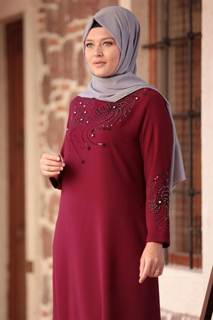 Evening Dress - Crepe - Unlined - High Collar - Claret Red - AMH565