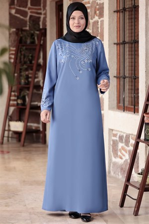 Evening Dress - Crepe - Unlined - High Collar - Indigo Blue - AMH565