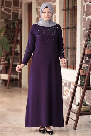 Evening Dress - Crepe - Unlined - High Collar - Purple - AMH565