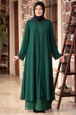 Dress - Lace - Full Lined - Crew Neck - Emerald Green - AHM567