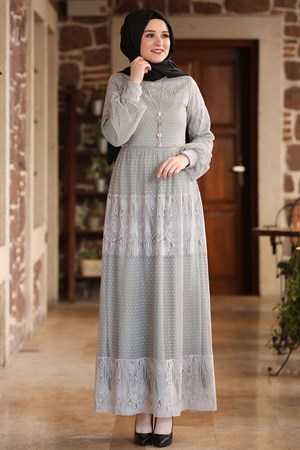 Dress - Lace - Full Lined - High Collar - Grey - AMH60