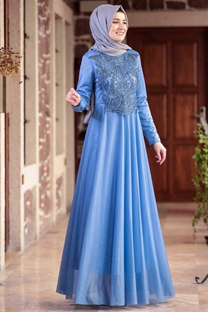 Dress - Chiffon - Lined - Judge Collar - Baby Blue - AMH604